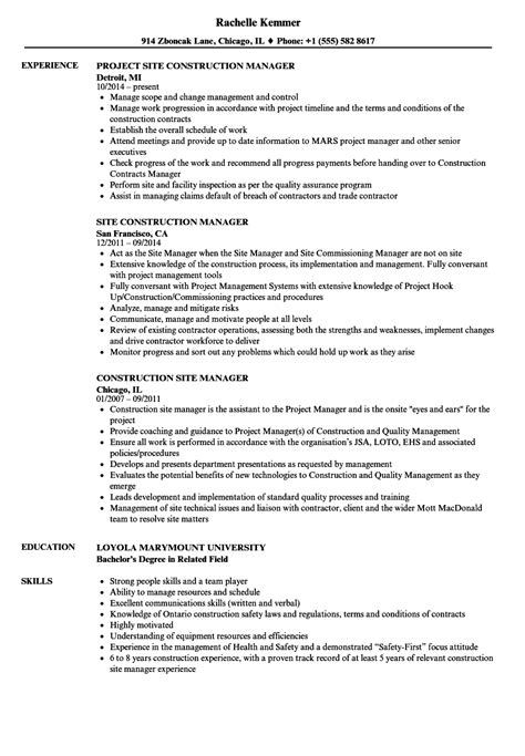construction site manager resume sle construction manager resume sles thevillas co