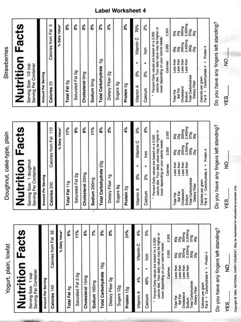 reading nutrition labels worksheet high school besto