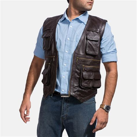 leather vest mens safari brown leather vest
