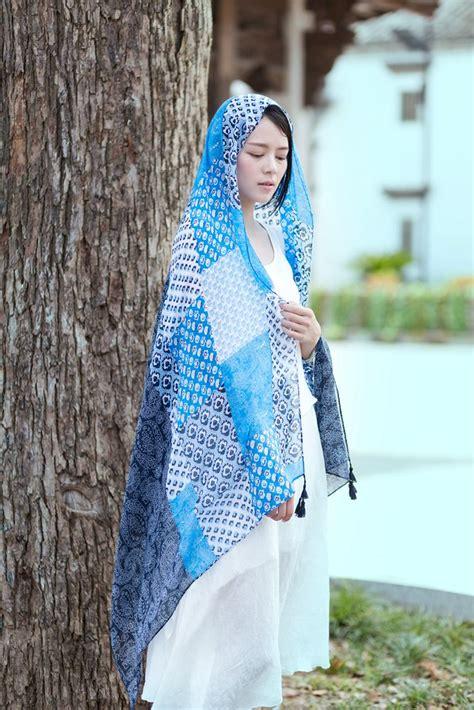 paisley pattern hijab 2016 women vintage ombre paisley floral pattern tassel