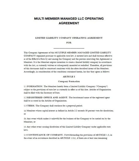 free llc operating agreement template 30 free professional llc operating agreement templates