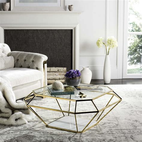 safavieh inga gold coffee table contemporary geometric marble metal coffee table safavieh