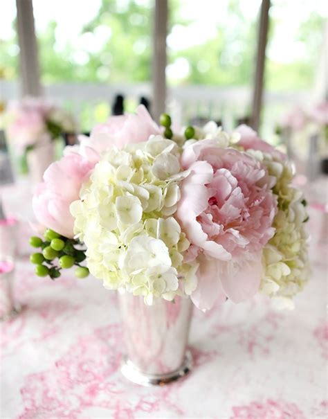 6 diy peony rose and hydrangea centerpieces for 50 romantic fresh cameo bridal shower romantic