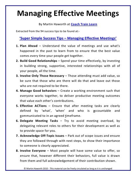 Chairing Effective Meetings by Simple Success Tips Managing Effective Meetings