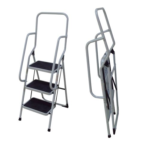 Safety Steps With Handrail foldable non slip 3 step steel ladder tread stepladder safety handrail rail new ebay