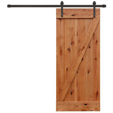 barn sliding door kit pacific entries 36 in x 84 in rustic unfinished plank