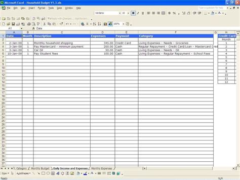 monthly outgoings spreadsheet template monthly outgoings