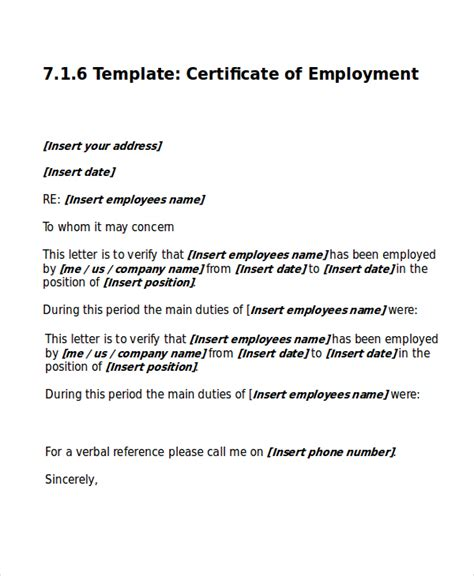 sle certificate employment template work certificate template 9 free word excel pdf