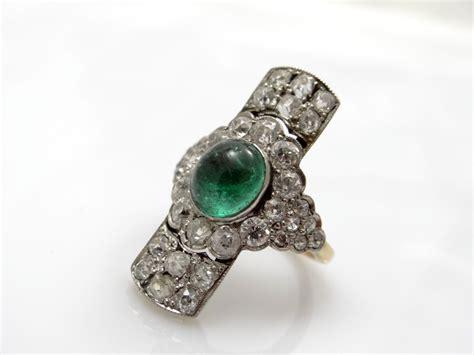 antique ring 4 80 carat diamonds emerald gold platinum