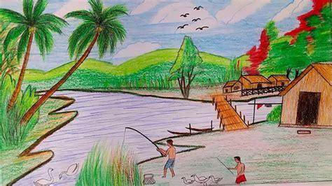 learn   draw  hill village scenery  oil pastel