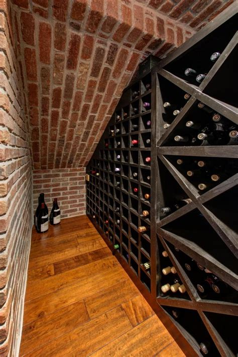 basement wine cellar  exposed red brick wall hgtv