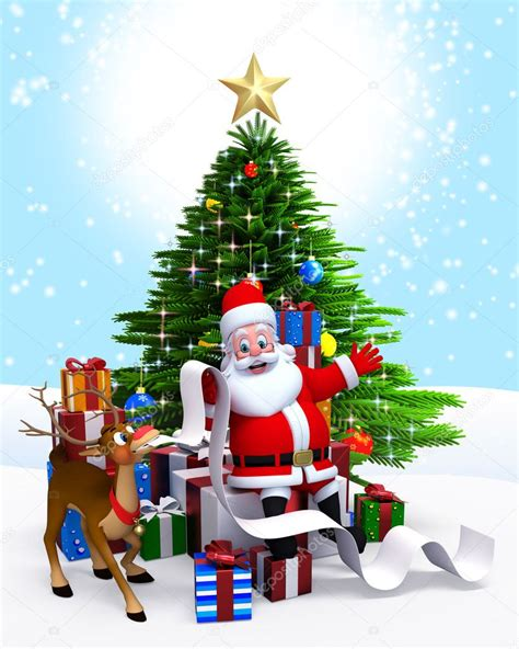 img of santa claus and x mas tree santa tree gift list stock photo 8202808