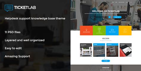 Ticketlab Helpdesk Support And Knowledge Base Psd Template By Bigbangthemes Help Desk Website Template Free