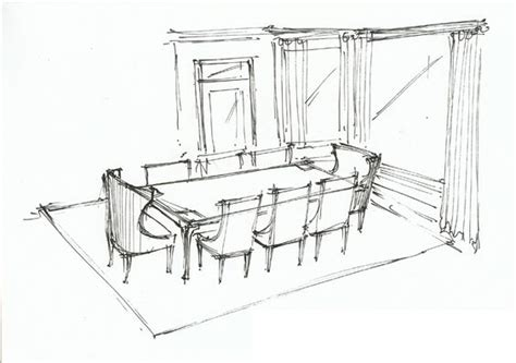 How To Draw A Dining Room by Dining Room Perspective Sketch Interior Sketches Floor