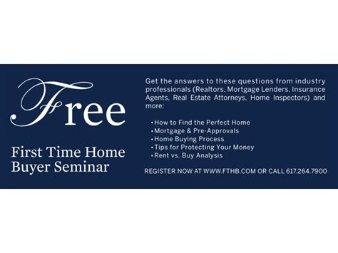 Free Time Home Buyer Workshop by Free Time Home Buyer Seminar Brookline Brookline
