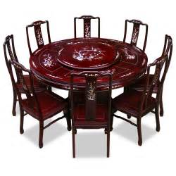 60in rosewood pearl inlay design round dining table with 8