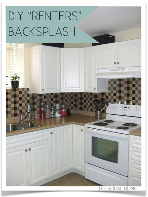 diy tile kitchen backsplash the social home diy quot renters quot backsplash with vinyl tile