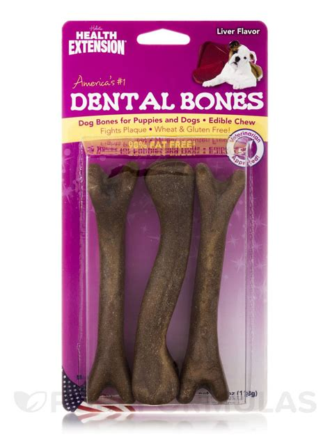 dental bones for dogs dental bones for puppies and dogs liver flavor 3 large pieces 4 oz 113 grams