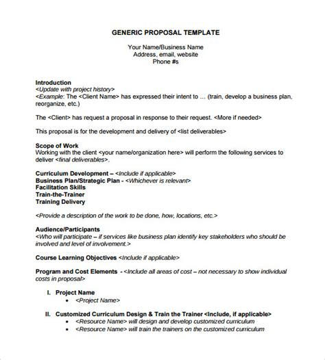 templates for business proposals sle generic business 7 documents in pdf word