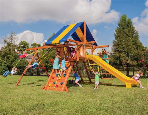 treefrog swing sets 5 5 texan playcenter config 2 with tarp swing set