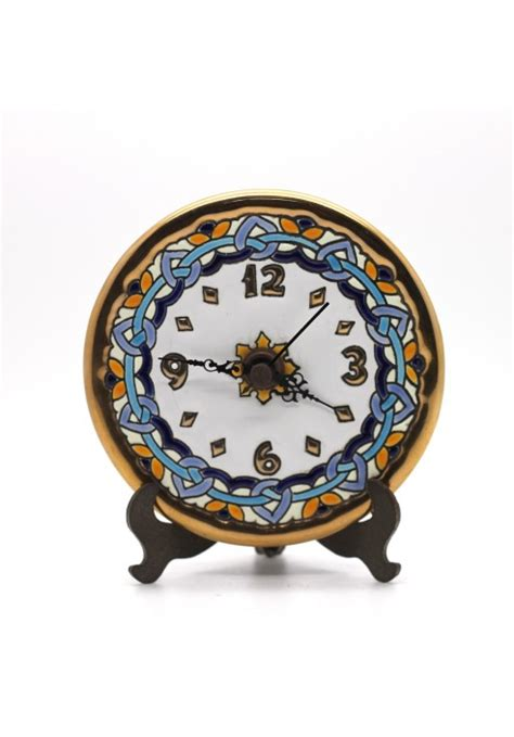 Handmade Ceramic Clocks - 12cm handmade ceramic clock with enamel 24kt gold