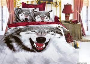 Wolf Bedspreads Comforters Siberian Wolf 6pc Full Queen Size Bedding Ensemble A