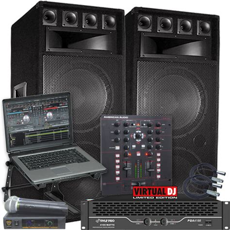 Dj Lights Cheap by Virtual Dj Software And Big Speaker Dj System Package