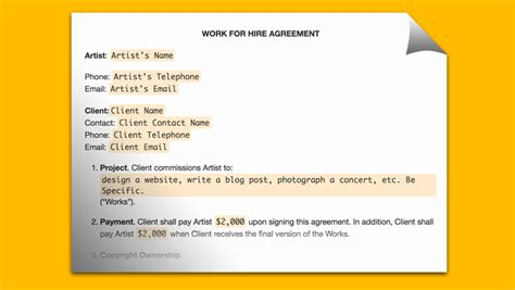 Best Work For Hire Agreement Templates Templates Vip Work For Hire Template