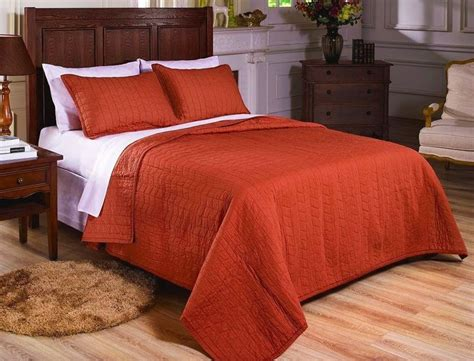 rust coverlet vintage washed 100 cotton 2pcs solid rust orange quilt