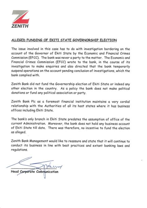 Bank Letter Of Release Zenith Bank Issues Press Release Denying Involvement In Funding Fayose Politics 3 Nigeria