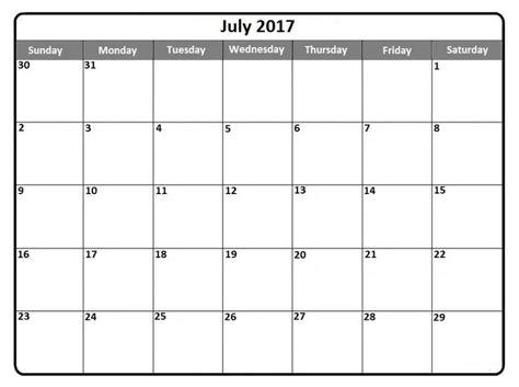 Calendar Print Out July 2017 Calendar Print