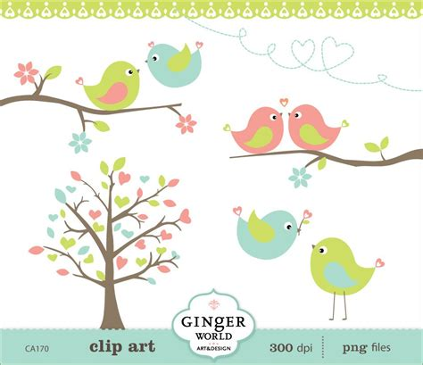 sweet bird and tree clipart set with cute little owl love bird clipart clipground