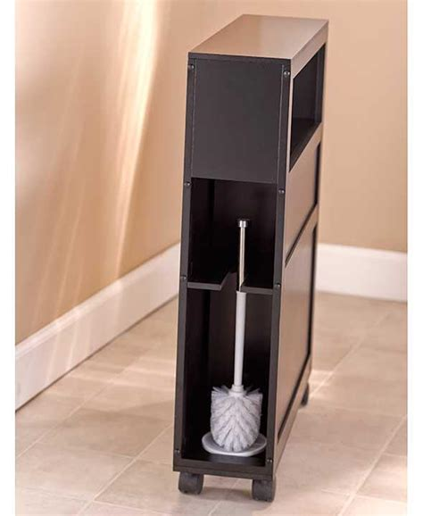 Slim Bathroom Storage Cabinet New Rolling Slim Bathroom Storage Organizer Cabinet Toilet Brush Black Or White Ebay