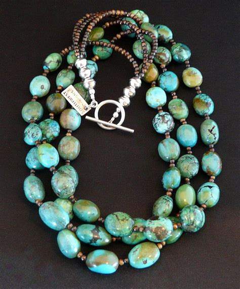 turquoise oval three strand necklace with sterling