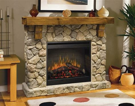 fieldstone rustic electric fireplace house