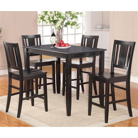 Black Counter Height Dining Table And Chairs Shop East West Furniture Buckland Black 5 Dining Set With Counter Height Table At Lowes