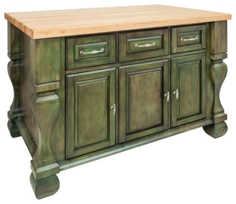 Antique Kitchen Islands | antique green island with three drawers cabinets rustic