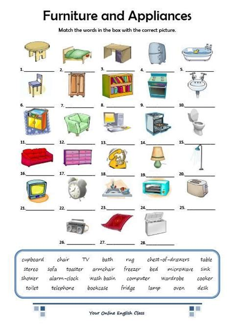 furniture  appliances vocabulary pinterest home