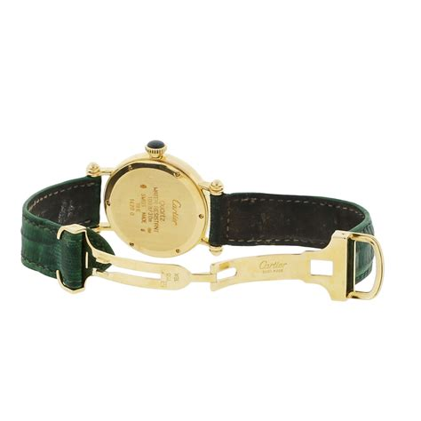 Cartier Leather cartier 1420 diabolo 18k gold on green leather band