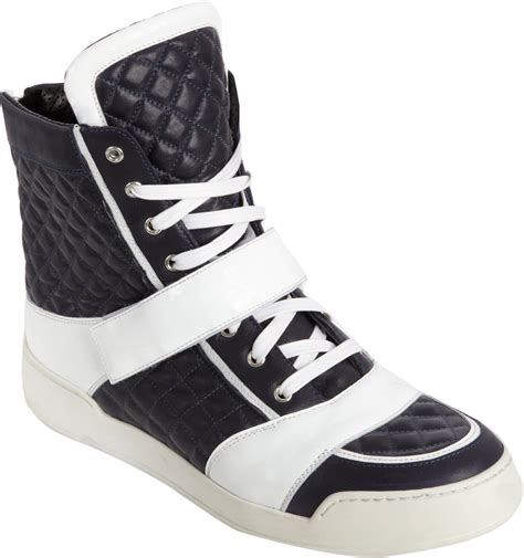 balmain mens sneakers balmain quilted hightop sneakers in blue for navy lyst