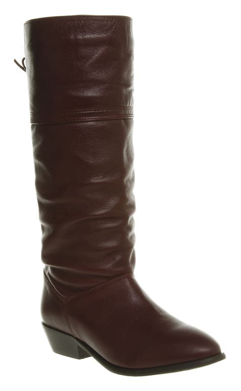 womens slouch boots womens office jani slouch boot burgundy leather boots ebay
