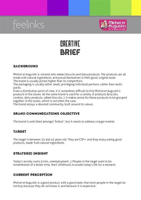 visual communication design brief template 19 best creative brief exles images on pinterest