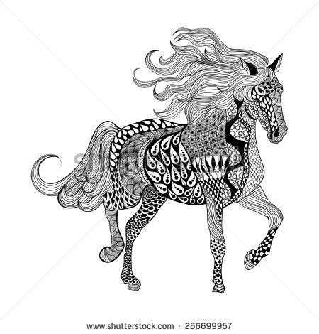 zentangle pattern horse zentangle stylized black horse hand drawn doodle vector