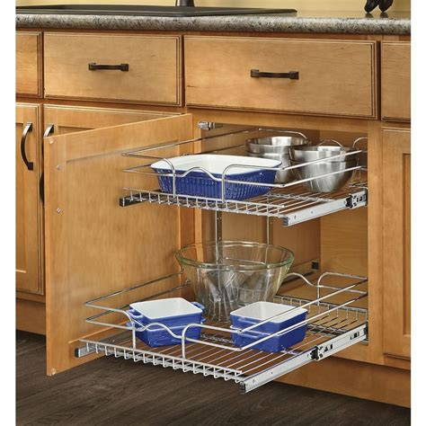 Kitchen Cabinet Inserts Storage Rev A Shelf 17 75 In W X 22 06 In D X 19 In H 2 Tier Metal Pull Out Cabinet Basket Lowe S Canada