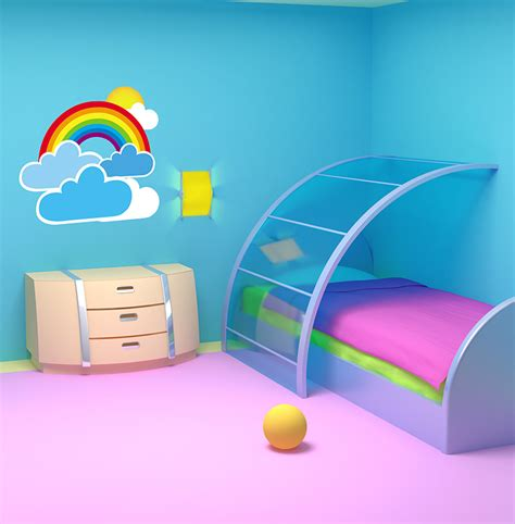 Large Nursery Wall Stickers rainbow and clouds wall decal removable wall stickers
