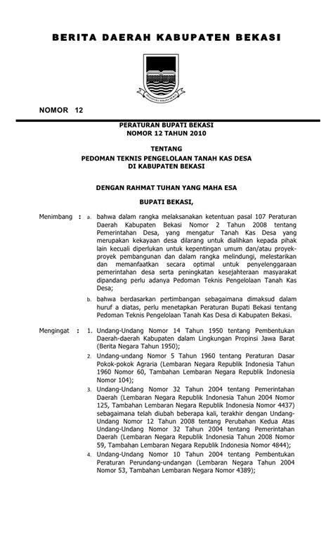 peraturan bupati bekasi nomor 12 tahun 2010 tentang pedoman pengelol