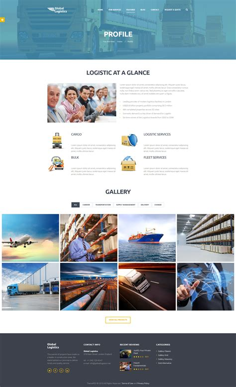Global Logistics Transportation Html Template By Themerex Themeforest Trucking Company Profile Template