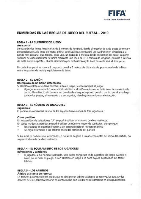 futbol de sala reglas reglamento de futbol sala al 2010