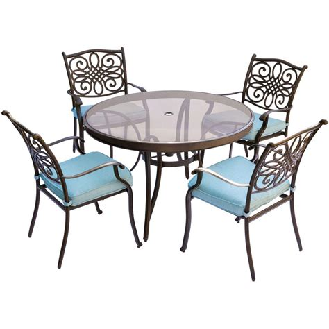 Blue Dining Table Set Hanover Traditions 5 Aluminum Outdoor Dining Set With Glass Top Table With Blue