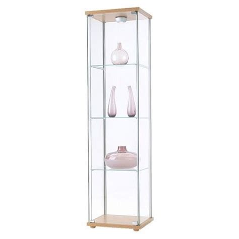 cheap ikea detolf glass curio display cabinet light brown